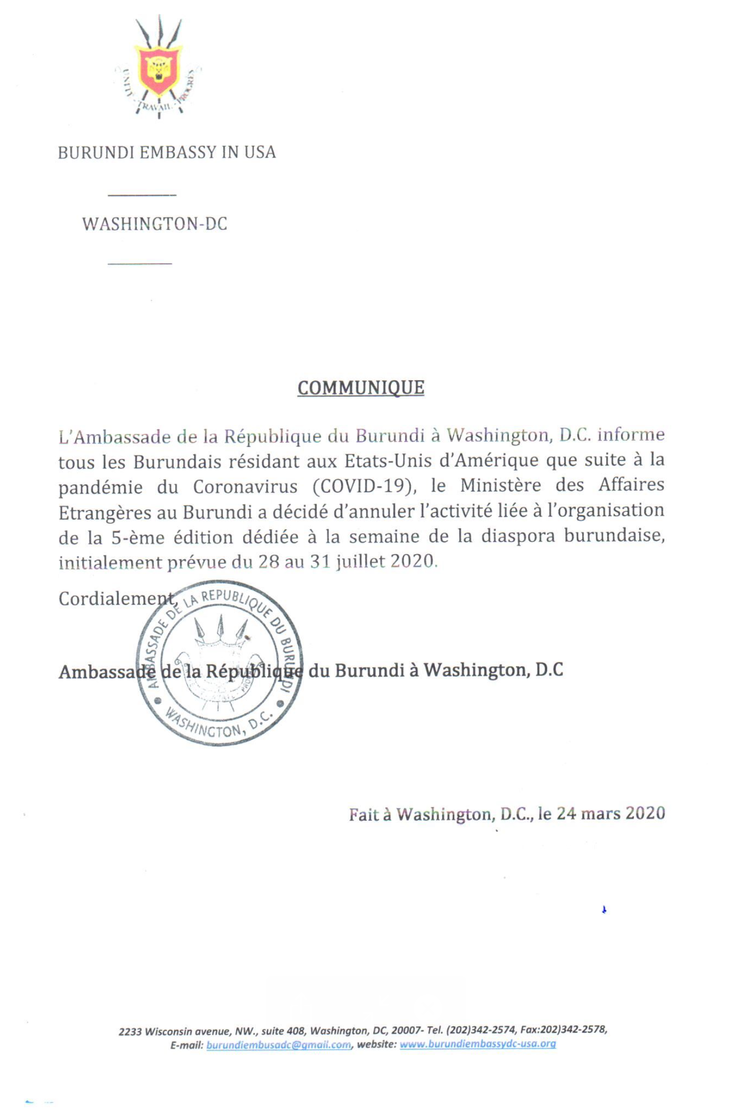 2020 Burundian Diaspora Week Canceled