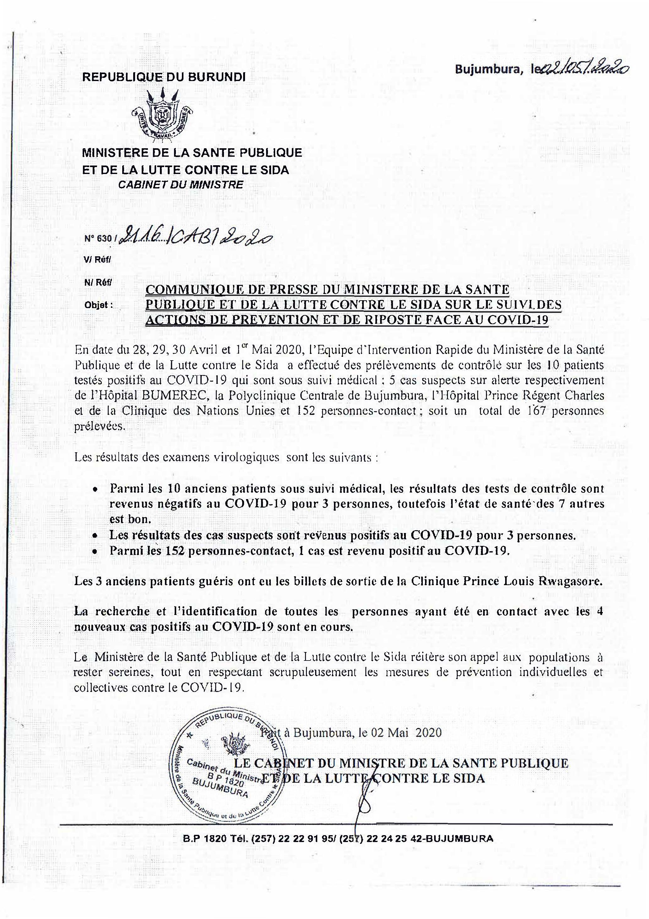 Communiqué de Presse du Ministère de la Santé Publique et de la Lutte Contre le SIDA sur le Suivi des actions de Prévention et de Riposte Face au COVID-19