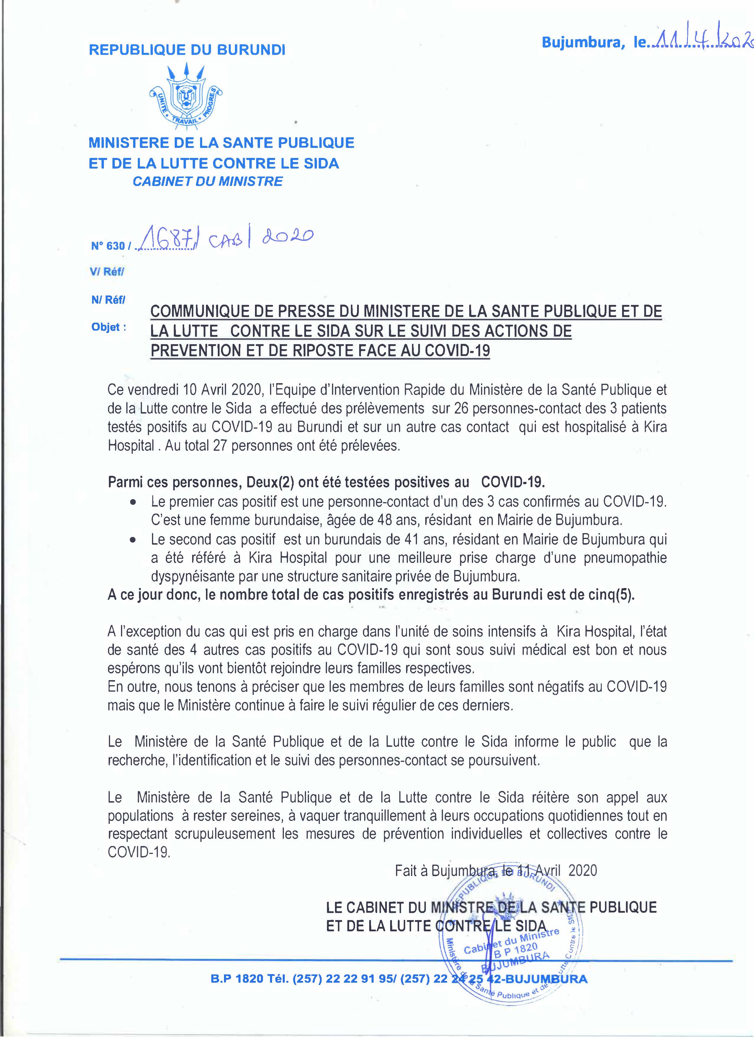 Communique de Presse du Ministère de la Sante Publique et de la Lutte Contre le SIDA sur le Suivi des actions de Prévention et de Riposte Face au COVID-19