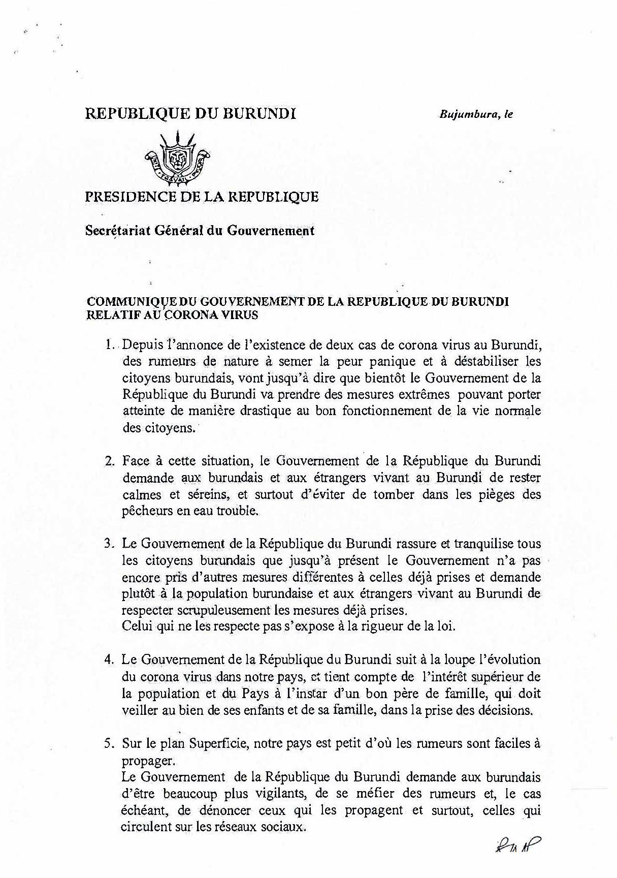 Communiqué du Gouvernement de la Republic du Burundi relatif au Corona Virus