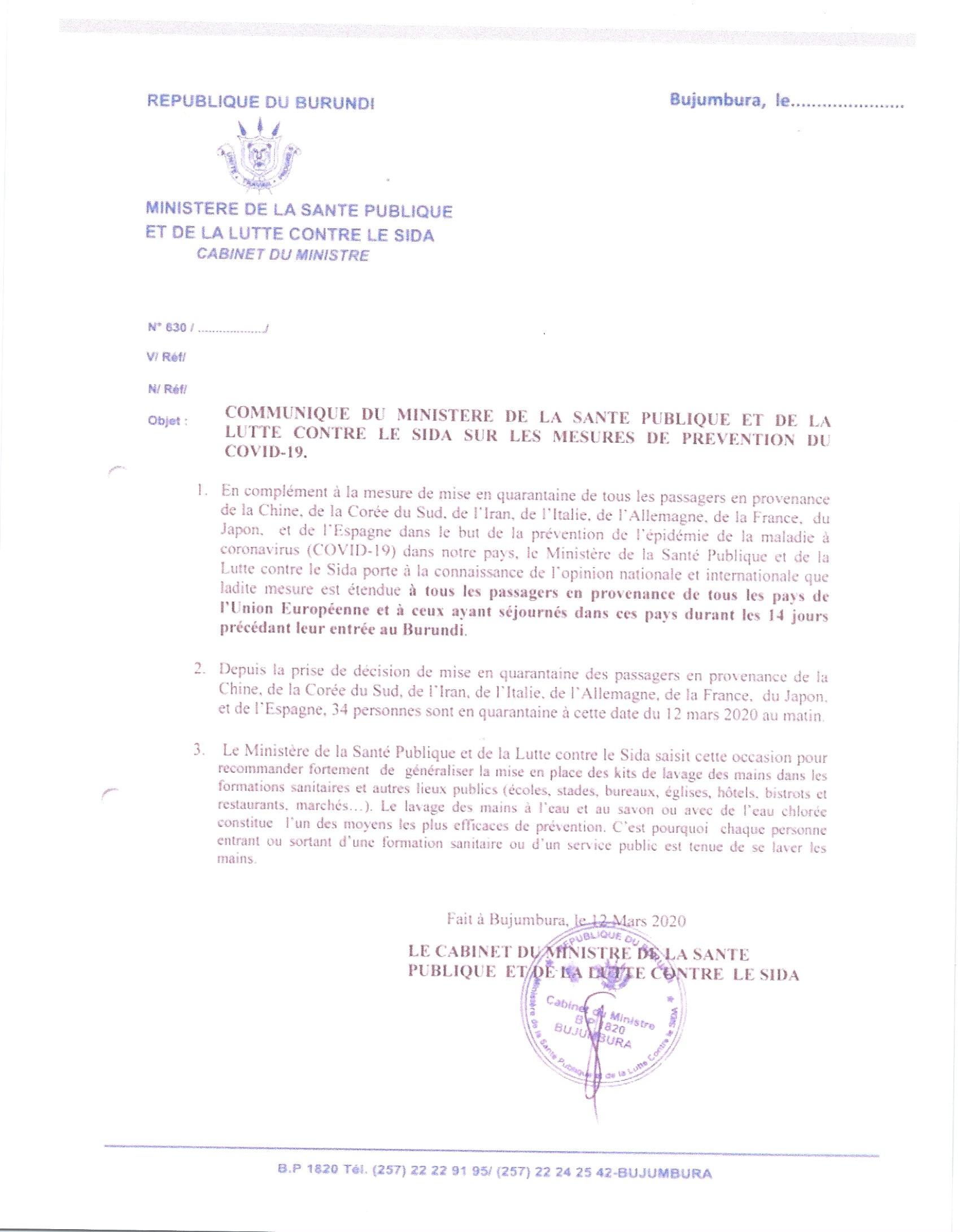 Communique du Ministre de la Santé Publique et de la Lutte Contre le SIDA sur les Mesures de Prevention du COVID-19