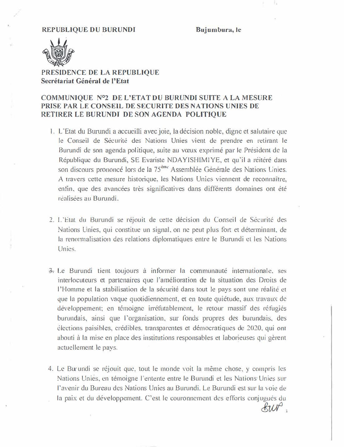 Communiqué N°2 de L'Etat du Burundi Suite a la Mesure Prise par le Conseil de Sécurité des Nations Unies de Retirer le Burundi de son Agenda Politique