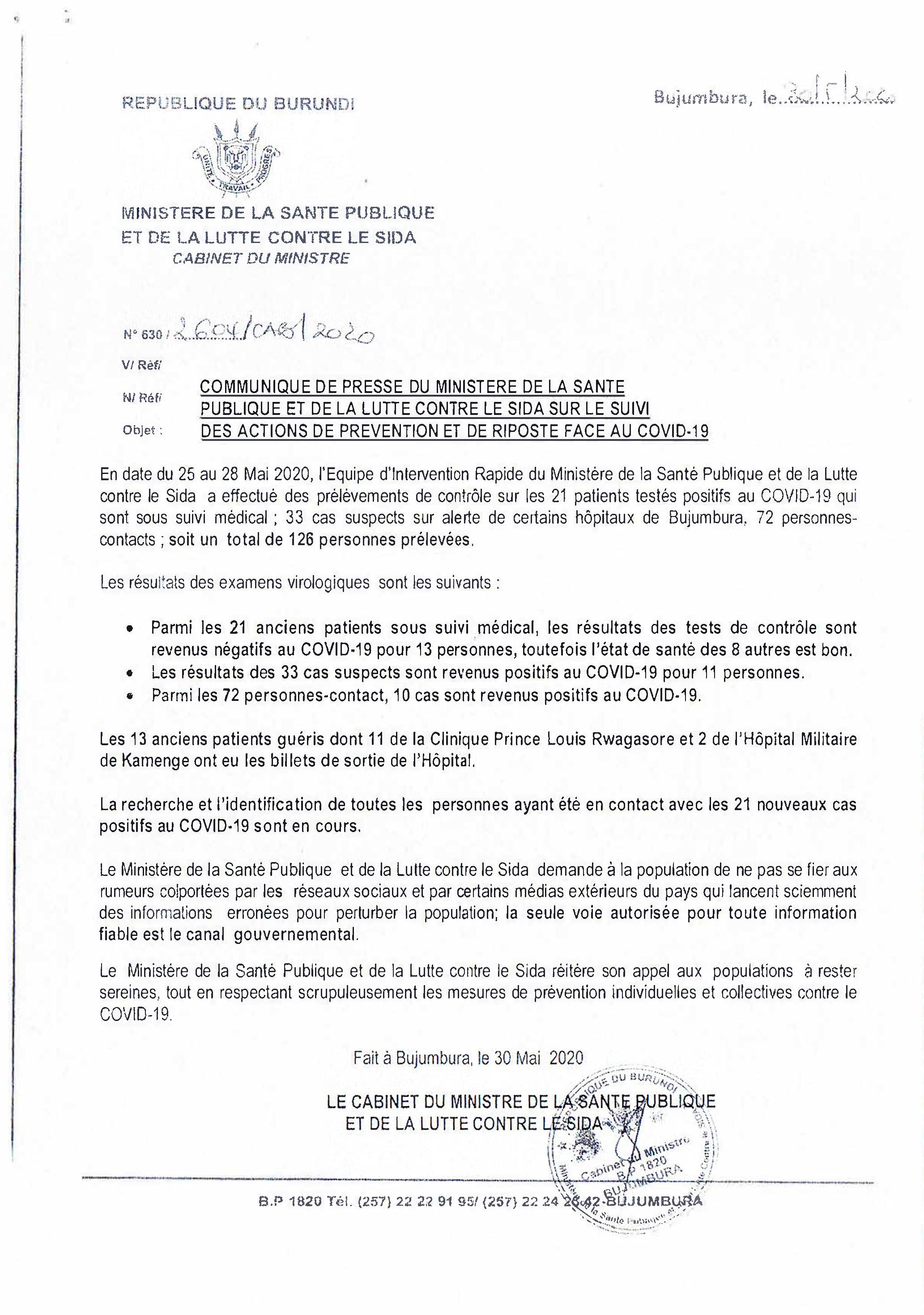 Communiqué sur le Suivi des Actions de Prélèvement et de Riposte Face au COVID-19