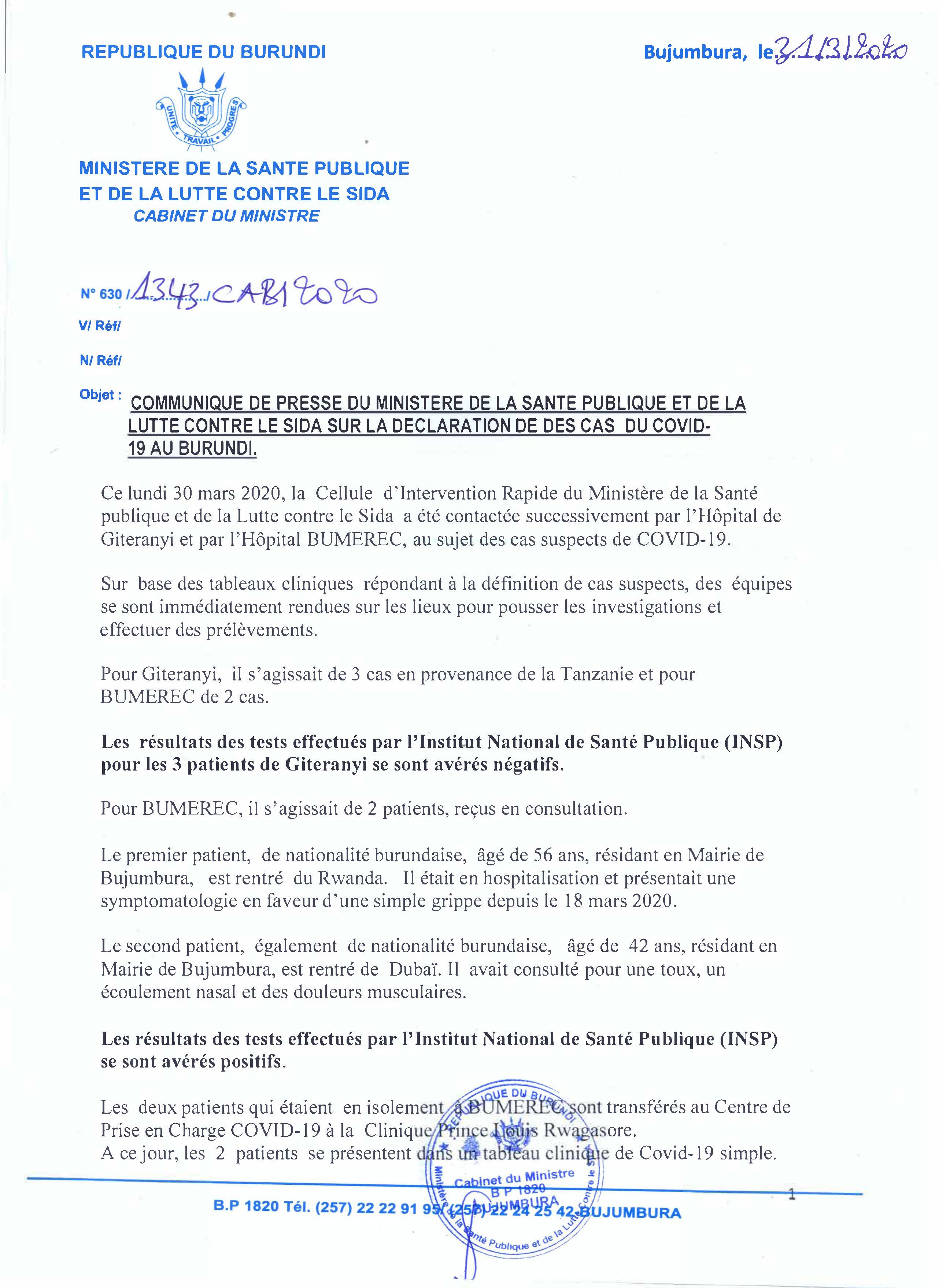 Communiqué de press du Ministre de la Santé Public sur le COVID-19