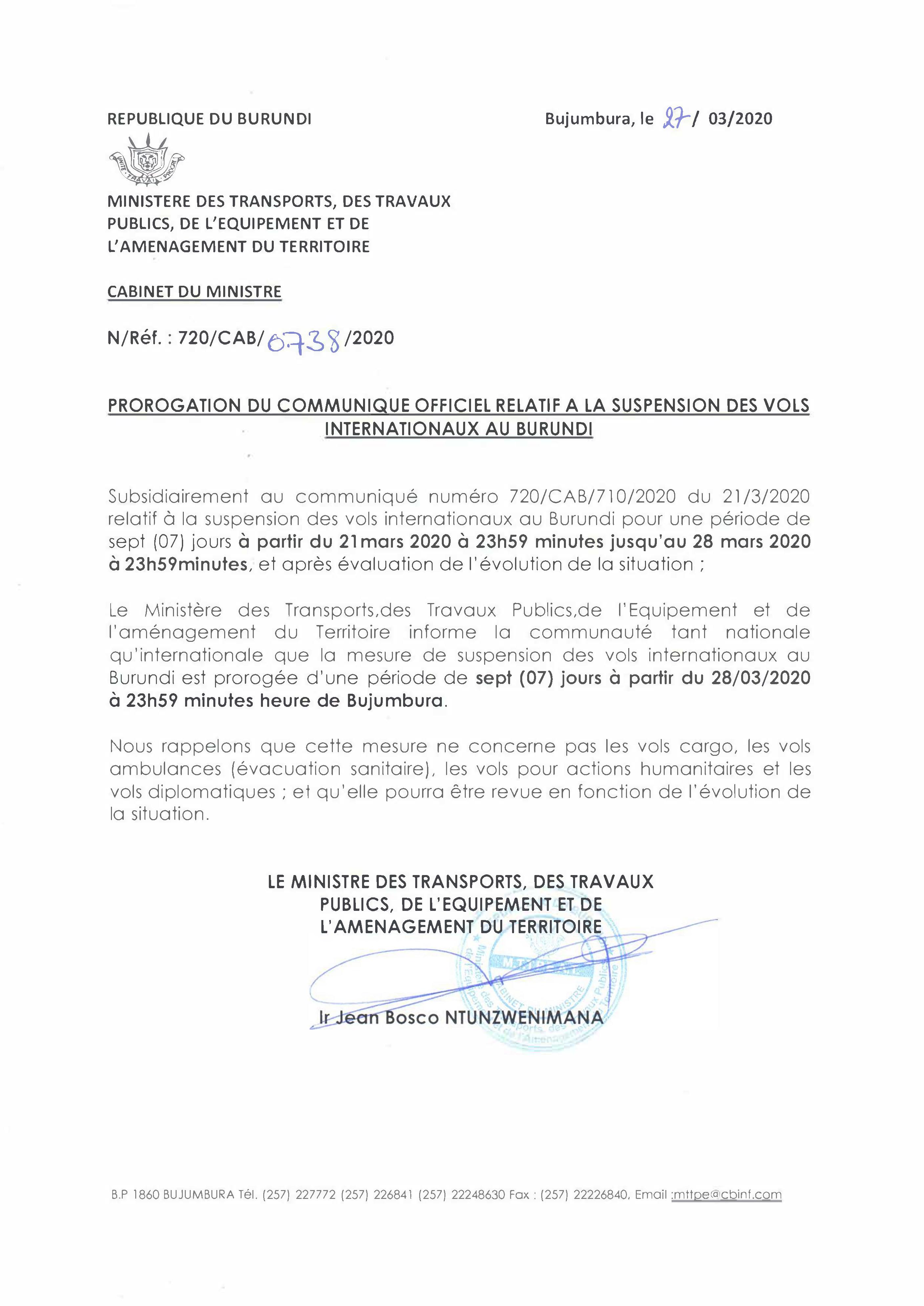 Prorogation du Communiquée Officiel Relatif à la Suspension des Vols Internationaux au Burundi